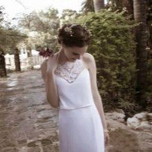 Отделка лифа свадебного платья кружевными элементами