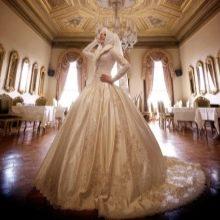 Мусульманское пышное с вышивкой свадебное платье