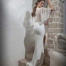Свадебное платье русалка с кружевным верхом