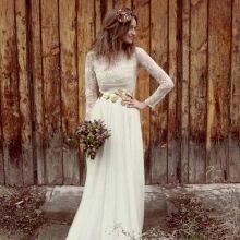 Свадебное платье в стиле рустик с длинными рукавами