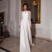 Свадебное платье  с прозрачными рукавами от Crystal Design