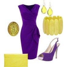 Фиолетовое платье с желтыми украшениями