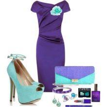 Фиолетовое платье с бирюзовыми украшениями