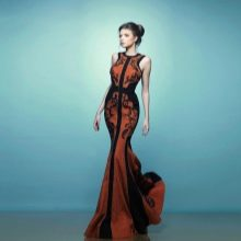 Вечернее платье русалка красно-черное