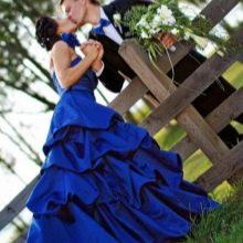 Свадебное синее платье гарманирующие с нарядом жениха