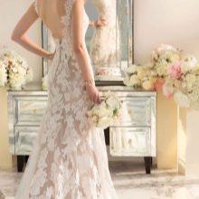 Свадебное платье русалка кружевное с открытой спиной