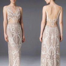 Бежевое ажурное платье в стиле нюд