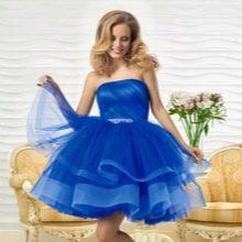 Вечернее короткое платье от Оксаны мухи синее