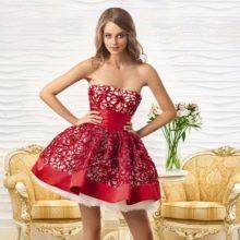 Вечернее короткое платье от Оксаны мухи красное