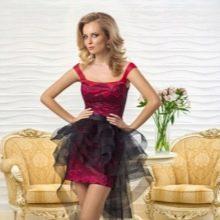 Вечернее короткое платье от Оксаны мухи со шлейфом