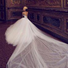 Свадебное платье с длинным шлейфом 2016 из шифона