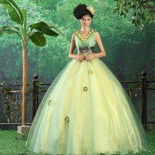 Платье свадебное с зеленое с белой подложкой