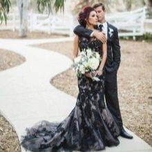 Свадебное платье русалка черное