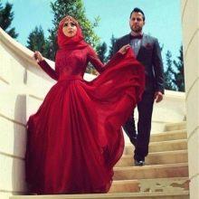 Мусульманское красное свадебное платье