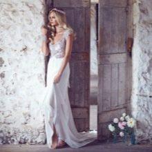 Свадебное платье со стразами и жемчугом