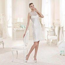 Свадебное платье короткое кружевное белое