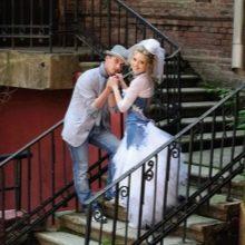Свадебное платье с джинсовой вставкой