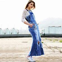 джинсовое платье в пол с кружевом