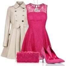 Туфли к малиновому платью и бежевое пальто