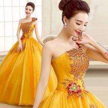 Желтое пышное вечернее платье из китая