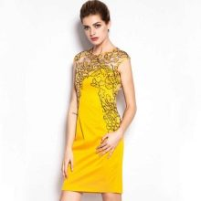 Желтое короткое платье из Китая