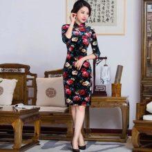 Китайское платье в цветочек