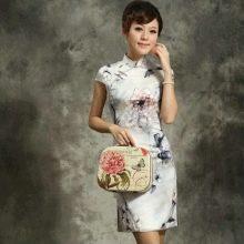 Платье в китайском стиле белое с  принтом
