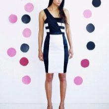 Платье асимметричной черно-белой расцветки