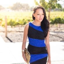 Платье асимметричной сине-черной расцветки
