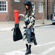 Камуфляжное платье со шляпой, сумкой, и курткой черного цвета