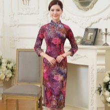 Платье-ципао средней длины с рукавом три четверти