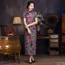 Длинное платье-ципао с коротким рукавом