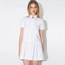 Белое короткое платье-поло с юбкой плиссе