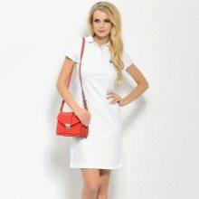 Белое платье-поло средней длины
