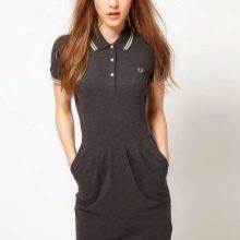 Серое платье-поло средней длины