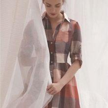 Платье-рубашка в клетку-квадраты