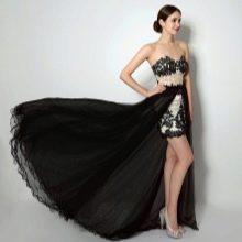 Короткое платье на выпускной со шлейфом