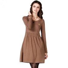 Трикотажное платье с завышенной талией на зимний период