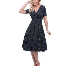 Платье в горошек с треугольным вырезом в стиле 50-х