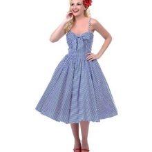 Полосатое пышное платье на бретелях в стиле 50-х