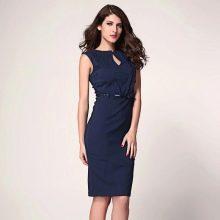 Хлопчатобумажное синее платье средней длины на корпоратив