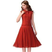 Платье с заниженной талией с гофрированной юбкой