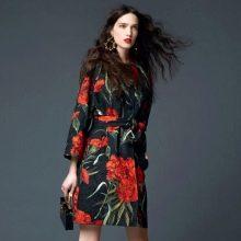 платье из поплина с крупными цветами