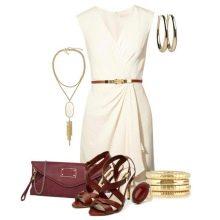 Золотые украшения к белому короткому  платью