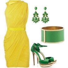 Зеленые аксессуары к желтому платью