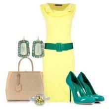 аксессуары цвета морской волны к желтому платью