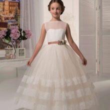 Выпускное платье в детский сад белое а-силуэта