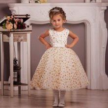 Выпускное платье в детский сад кремовое пышное