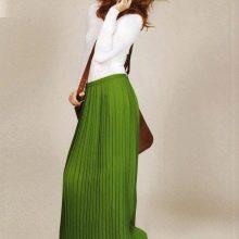 длинная летняя юбка цвета травы