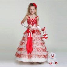 Новогоднее платье для девочки бело-красное
